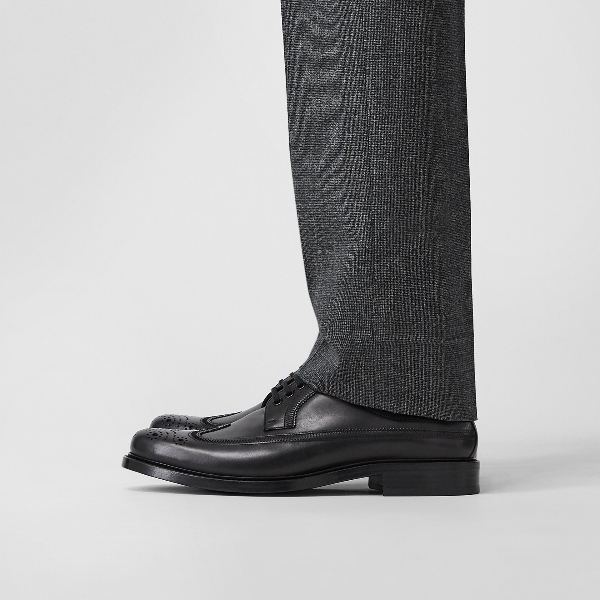Brogue Detail Leather Derby Shoes in Black - Men | Burberry - gallery image 2