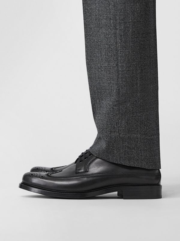 Brogue Detail Leather Derby Shoes in Black - Men | Burberry Canada - cell image 2