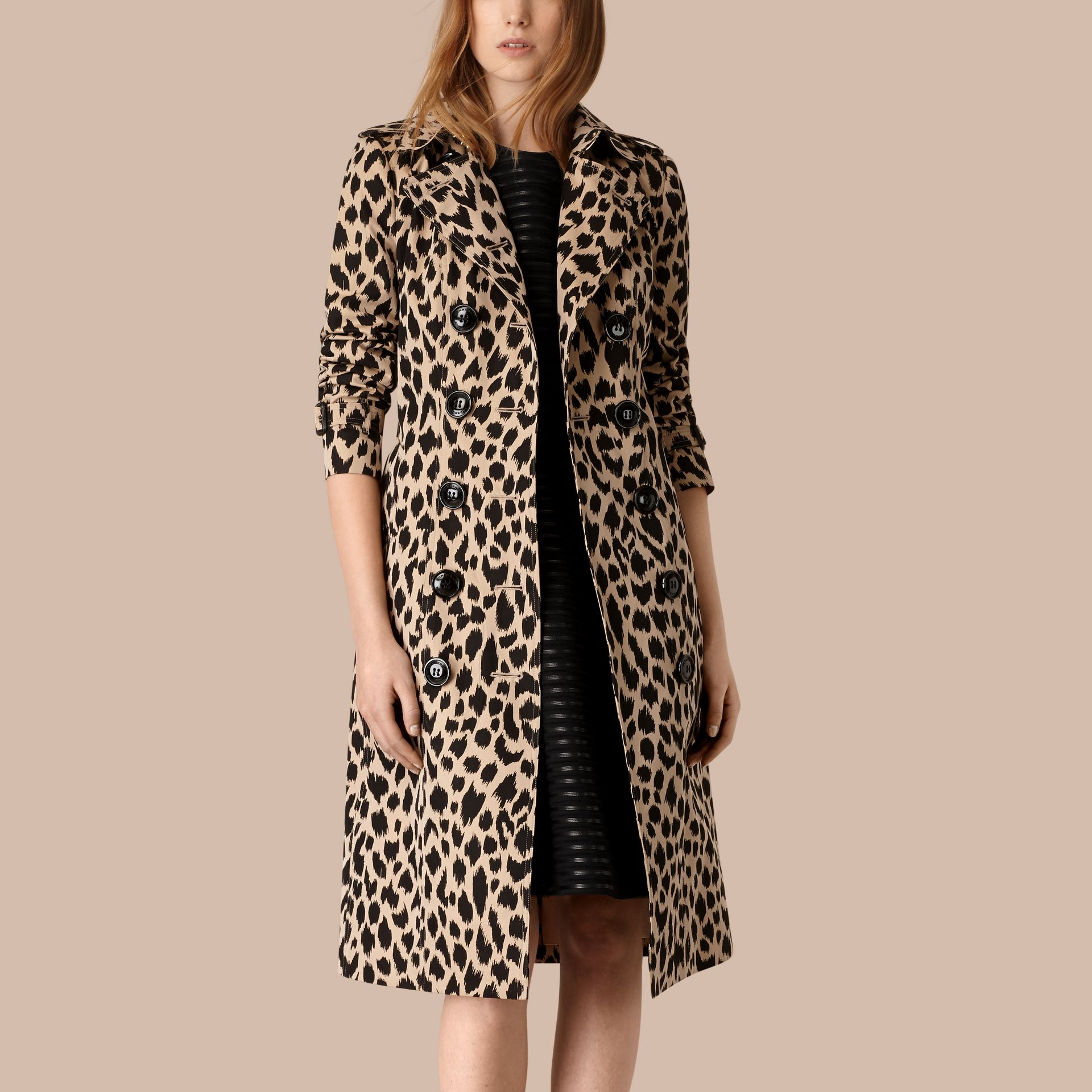 Honey/black Animal Print Cotton Gabardine Trench Coat - gallery image 1