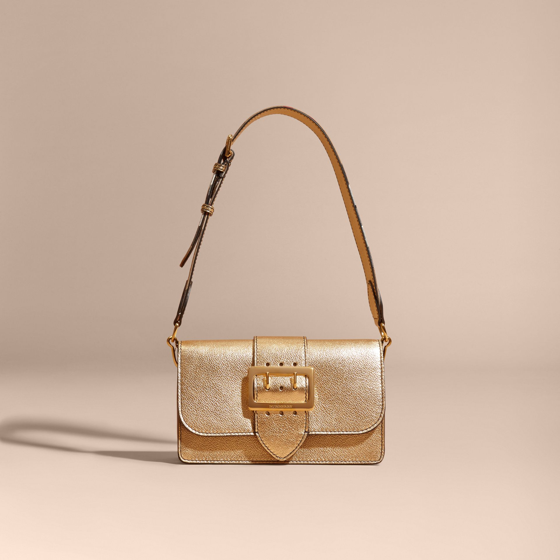 Gold The Medium Buckle Bag in Metallic Leather - gallery image 9