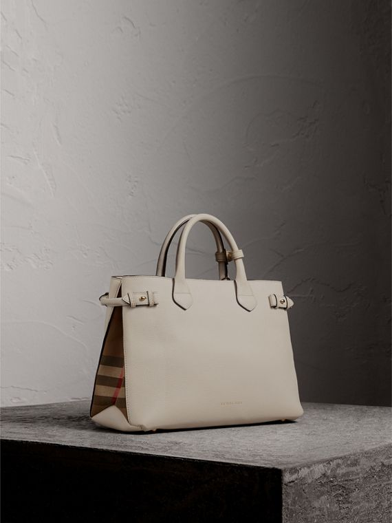 Sac The Banner medium en cuir et coton House check (Naturel) - Femme | Burberry