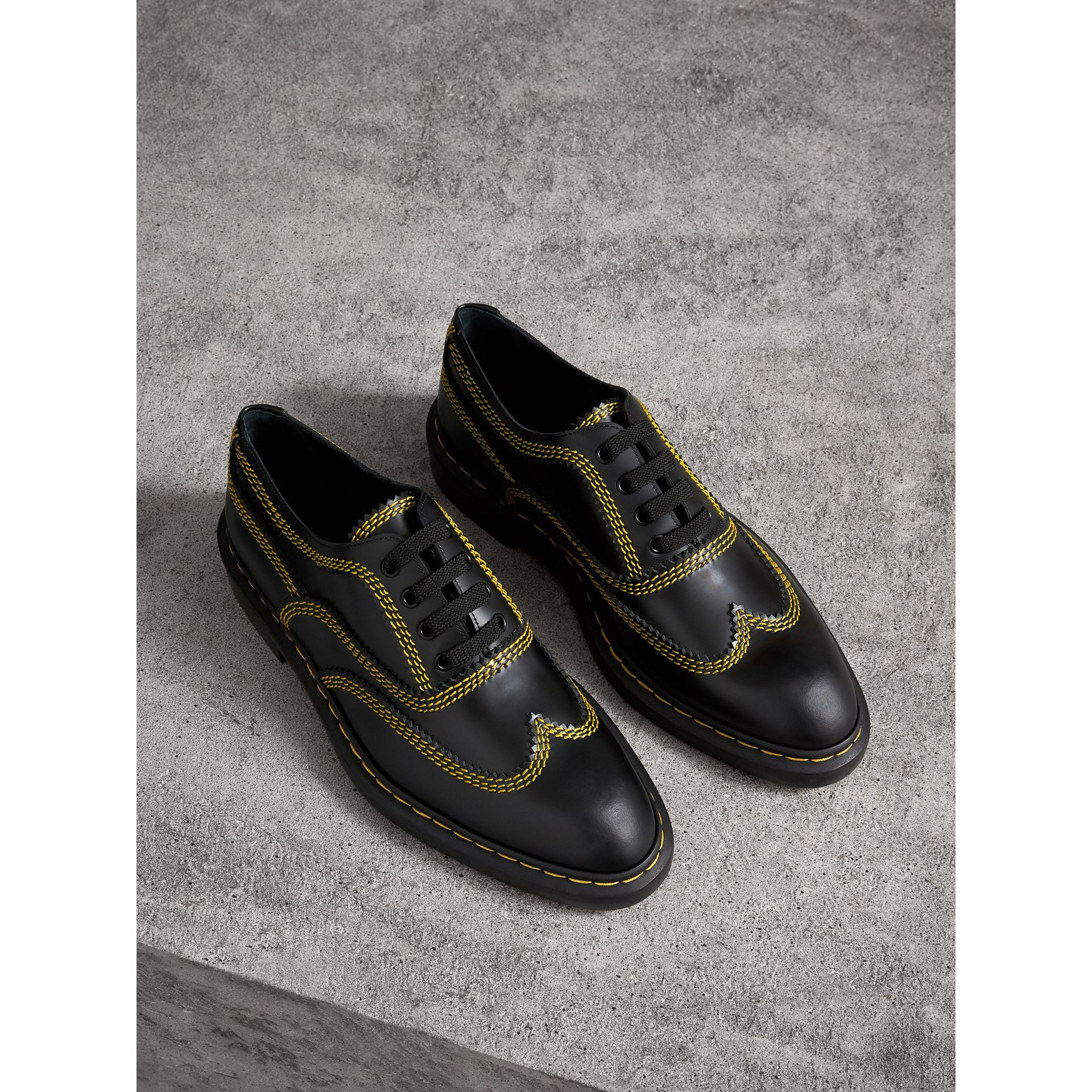 Topstitched Leather Derby Shoes in Black - Men | Burberry - gallery image 1