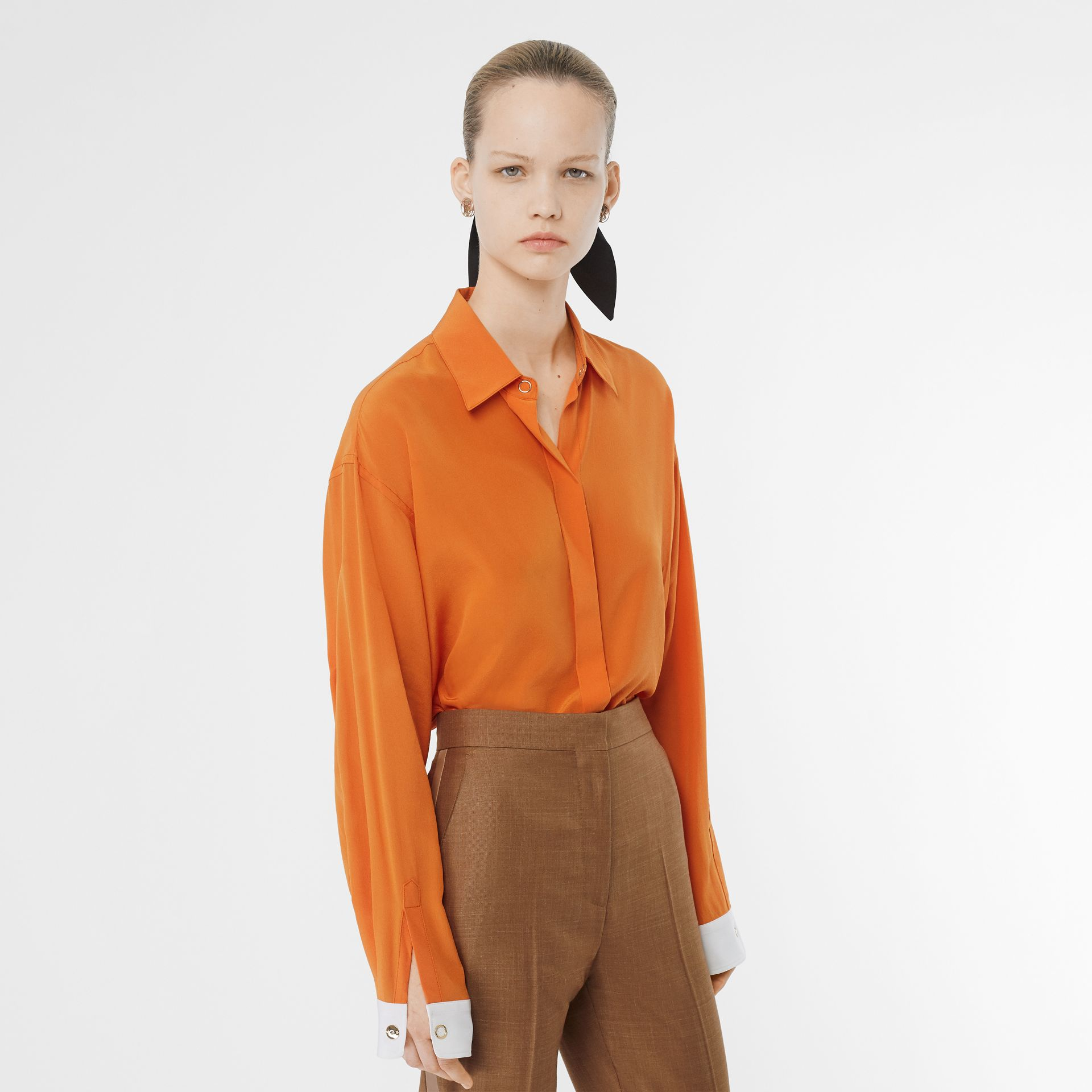 Contrast Cuff Silk Oversized Shirt in Orange - Women | Burberry - gallery image 5