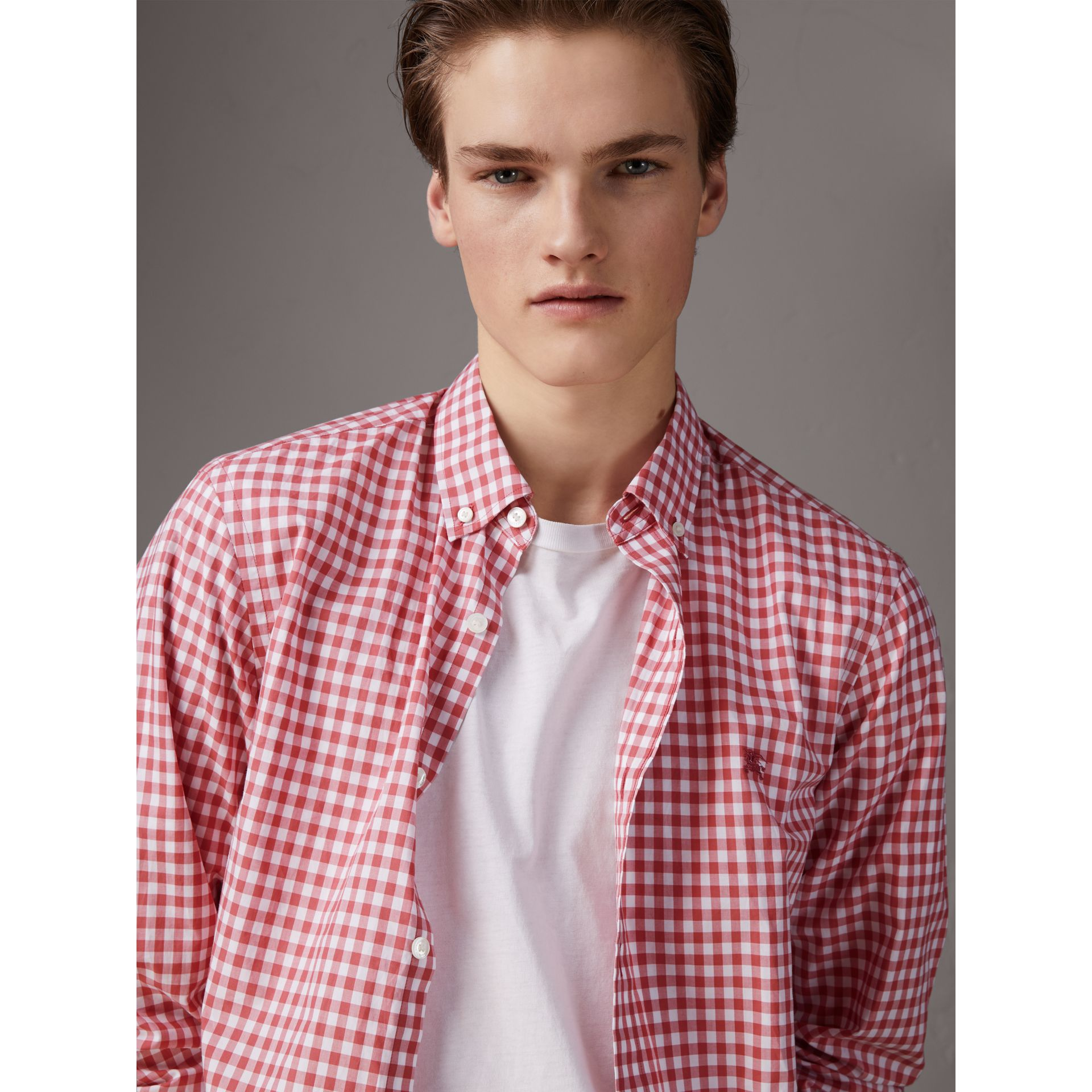 Button-down Collar Gingham Cotton Shirt in Pink Azalea - Men | Burberry United Kingdom - gallery image 4