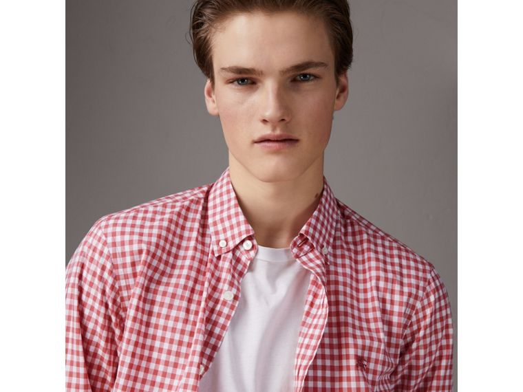Button-down Collar Gingham Cotton Shirt in Pink Azalea - Men | Burberry United Kingdom - cell image 4