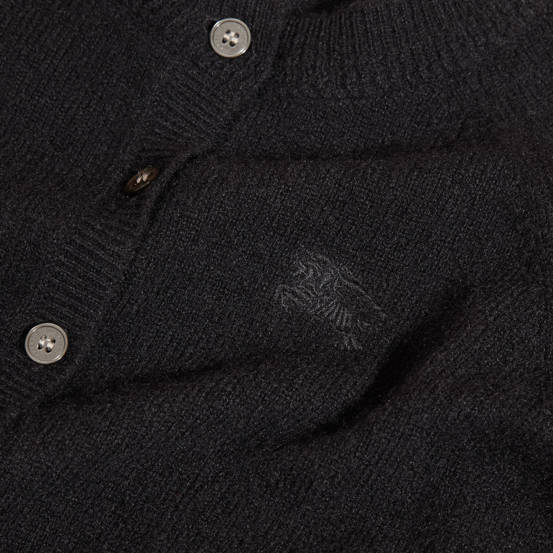 Check Detail Cashmere Cardigan in Black - Girl | Burberry - gallery image 2
