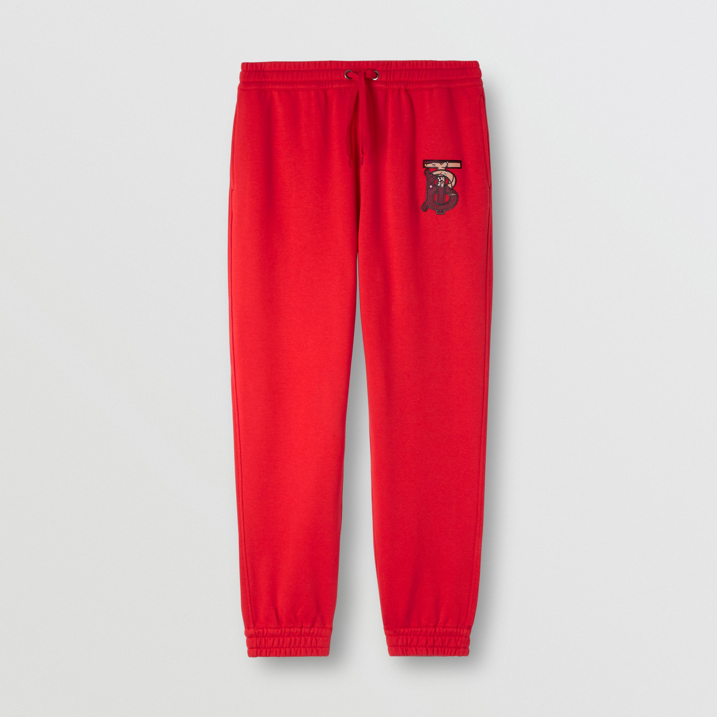 Monogram Motif Cotton Trackpants in Bright Red - Men | Burberry Australia - 3