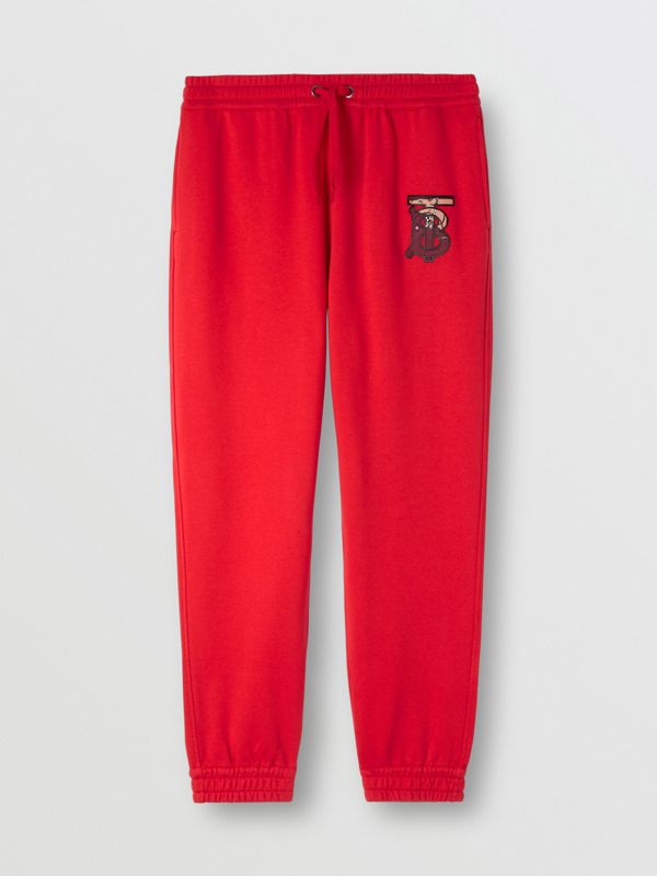 Monogram Motif Cotton Trackpants in Bright Red - Men | Burberry - cell image 2