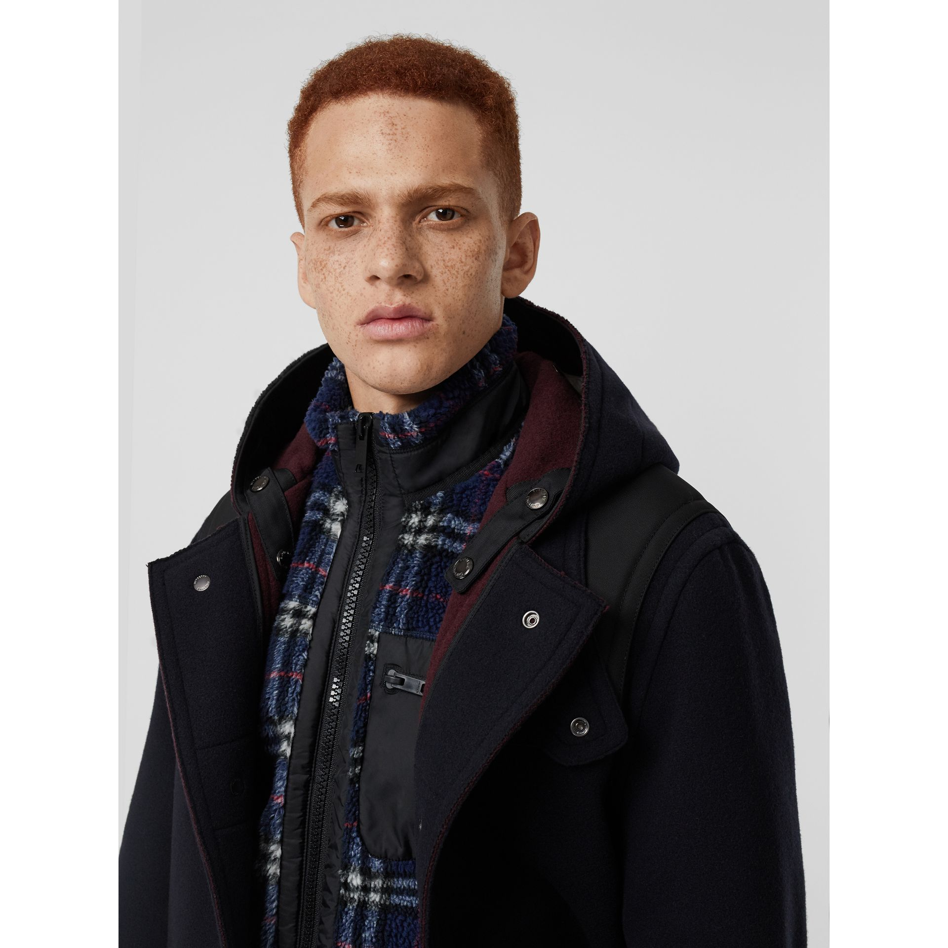 Double-faced Wool Blend Duffle Coat in Navy/burgundy - Men | Burberry - gallery image 4