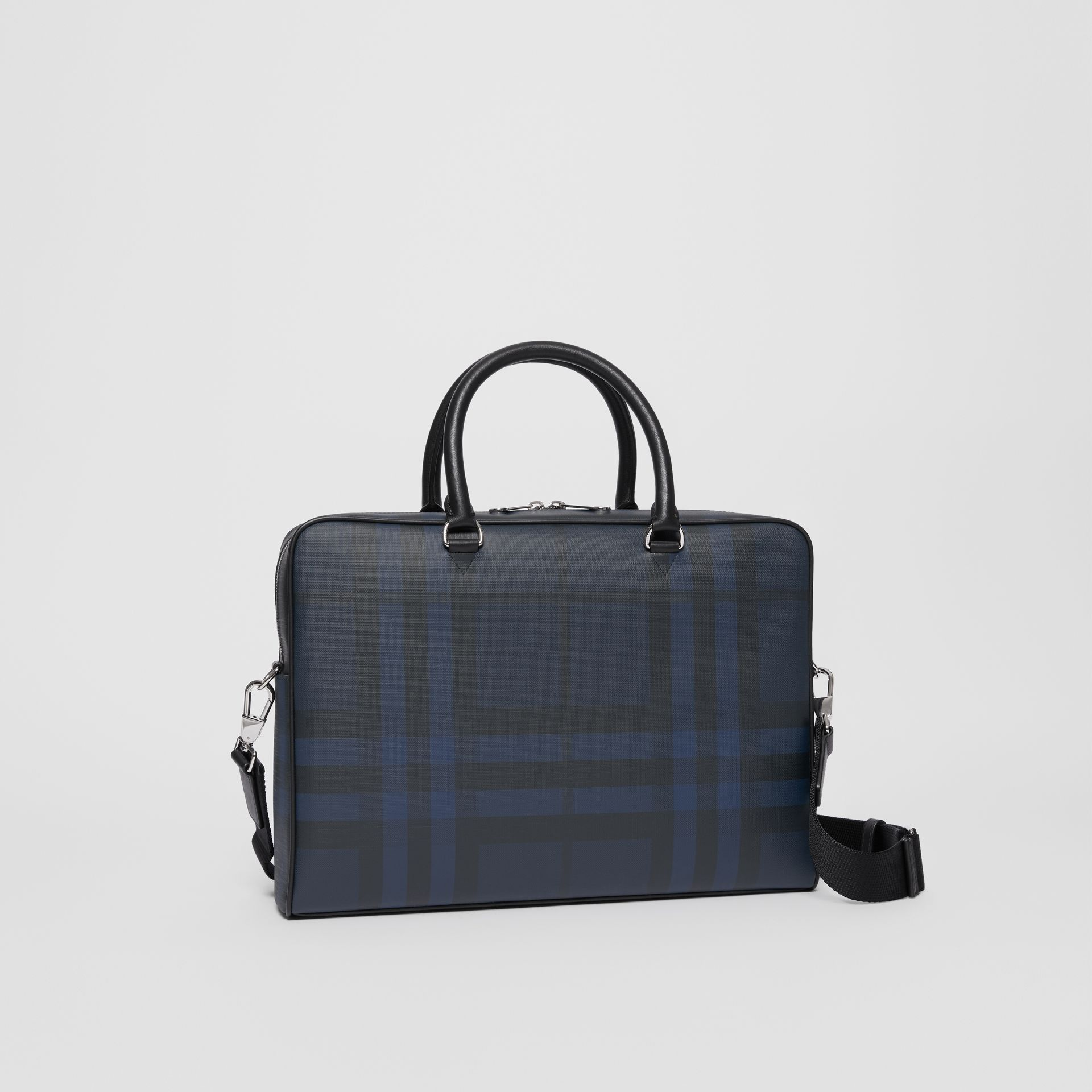 London Check and Leather Briefcase in Navy/black - Men | Burberry - gallery image 4