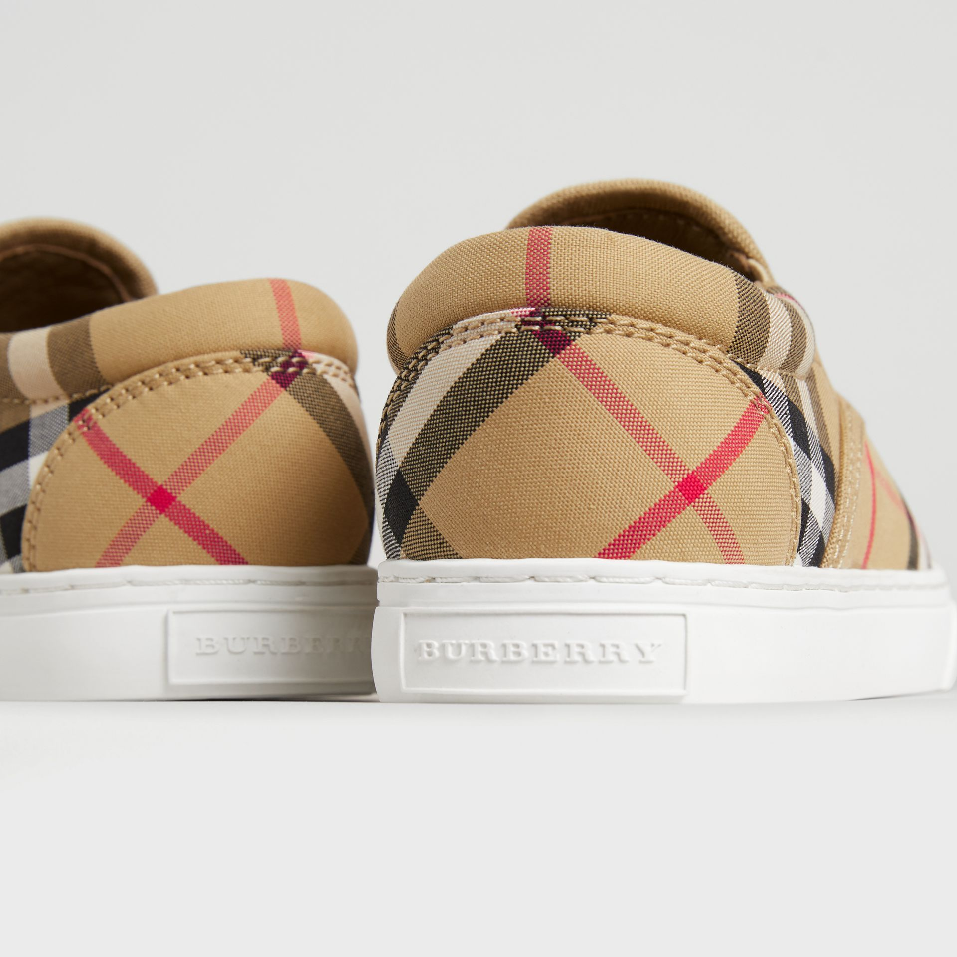 Vintage Check and Leather Slip-on Sneakers in Antique Yellow/optic White | Burberry Australia - gallery image 1