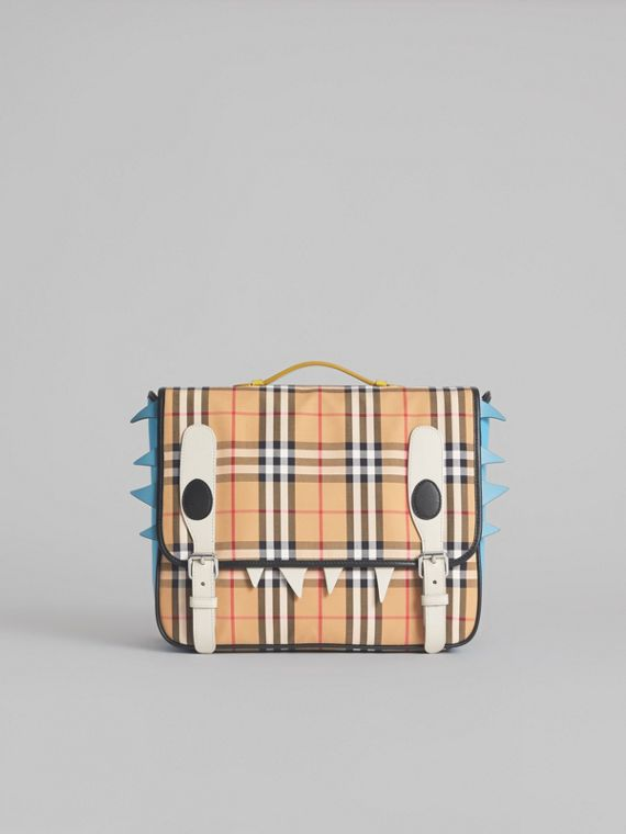 Monster Detail Vintage Check and Leather Satchel in Antique Yellow