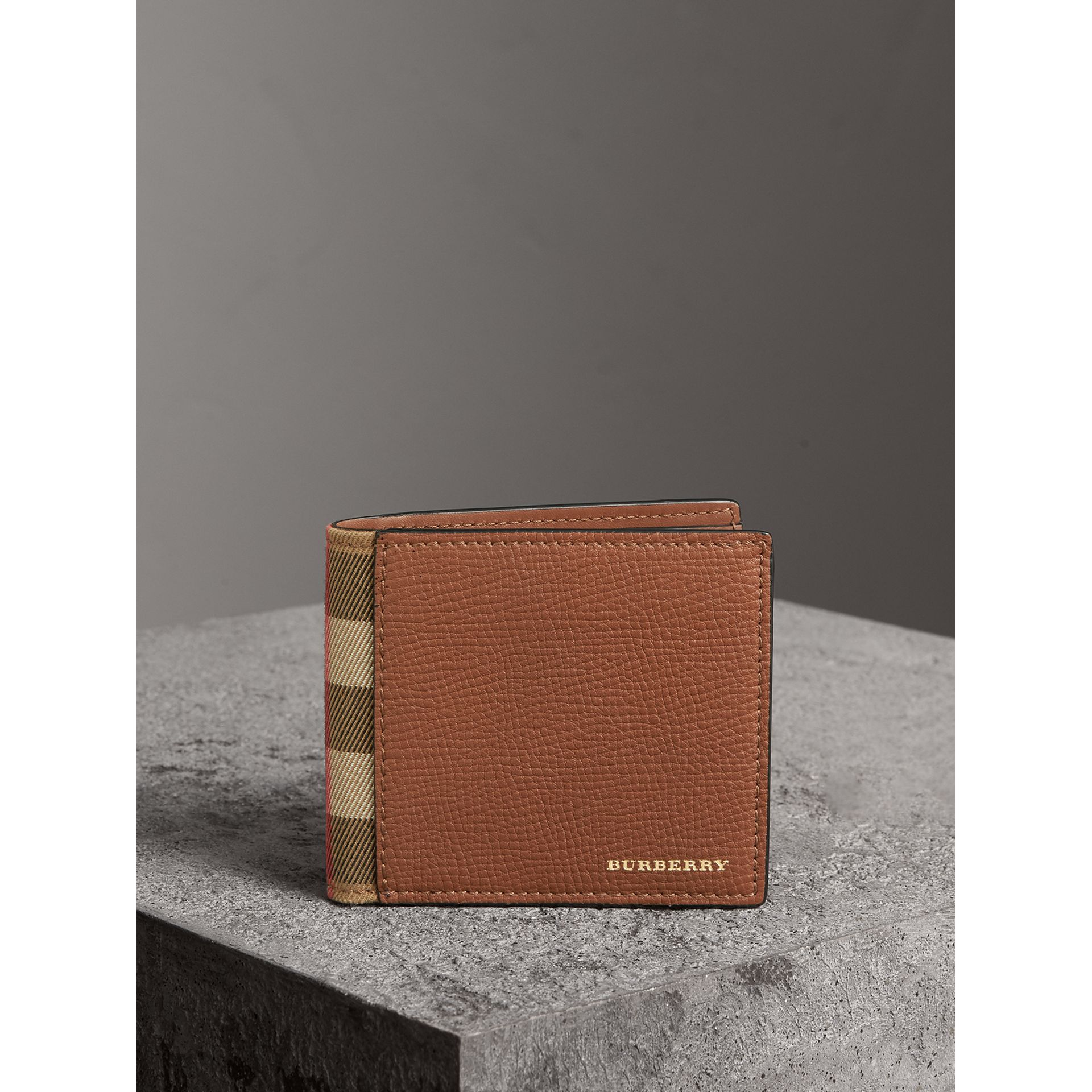 Leather and House Check International Bifold Wallet in Chestnut Brown | Burberry Australia - gallery image 4