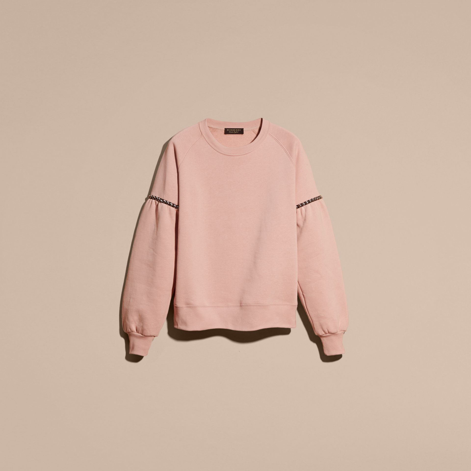 Dusty pink Bell-sleeved Cotton Blend Sweatshirt - gallery image 4