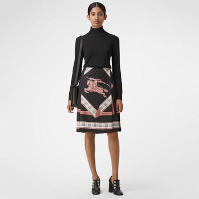 Archive Scarf Print Skirt in Black
