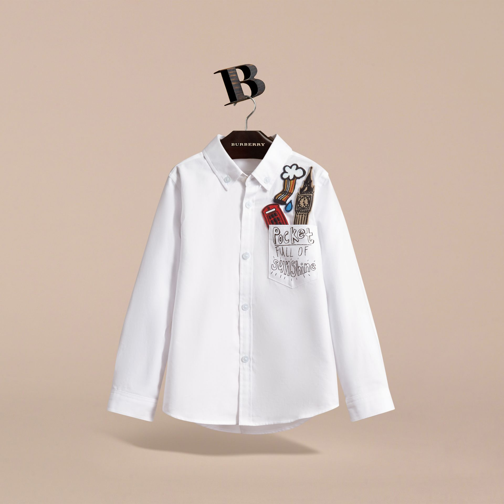 London Icons Cotton Button-down Collar Shirt in White - Boy | Burberry - gallery image 2