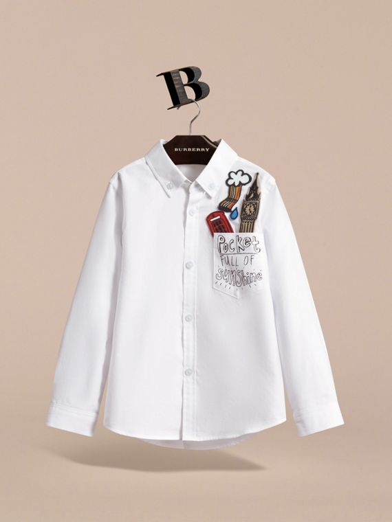 London Icons Cotton Button-down Collar Shirt in White - Boy | Burberry - cell image 2