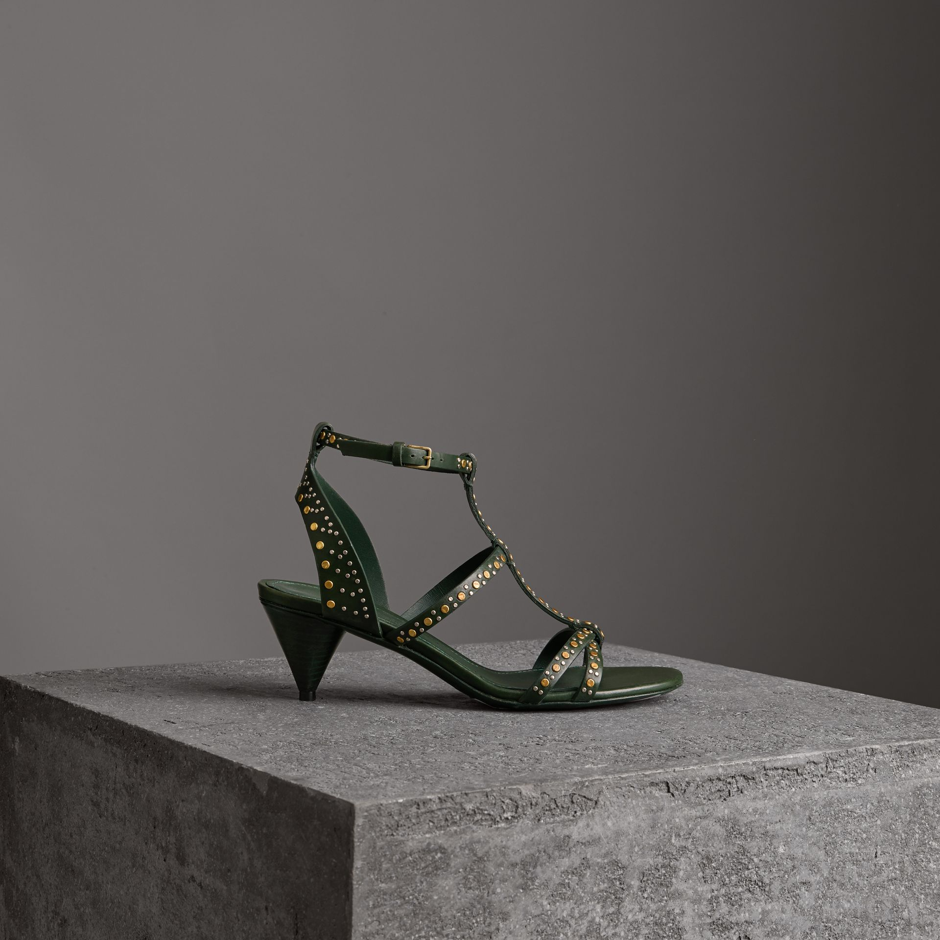 Riveted Leather Cone-heel Sandals in Dark Green - Women | Burberry - gallery image 0