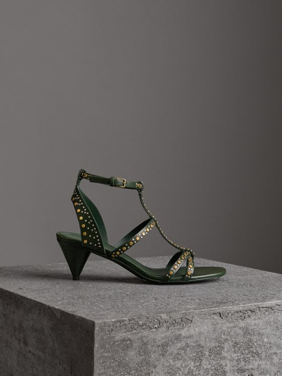 Riveted Leather Cone-heel Sandals in Dark Green