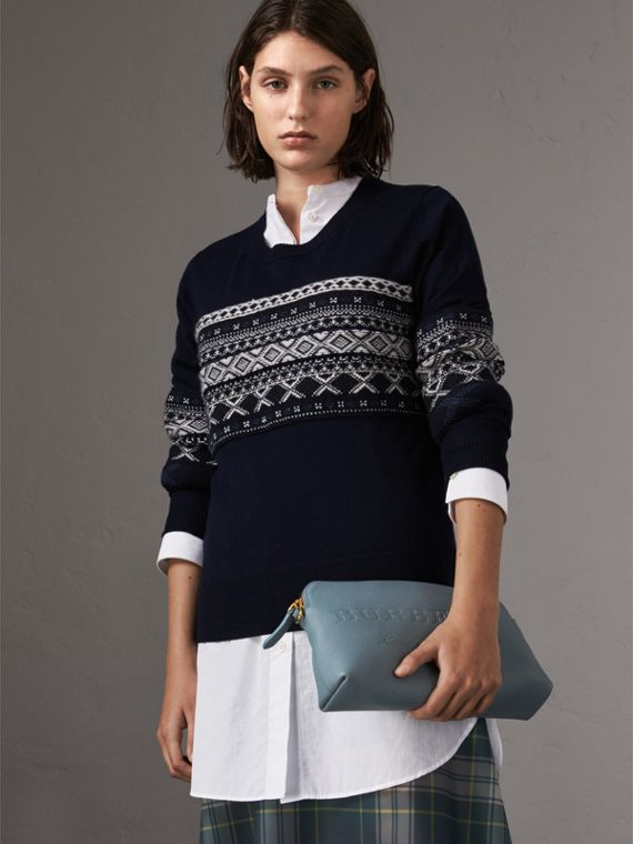 Embossed Leather Clutch Bag in Dusty Teal Blue - Women | Burberry Canada - cell image 3