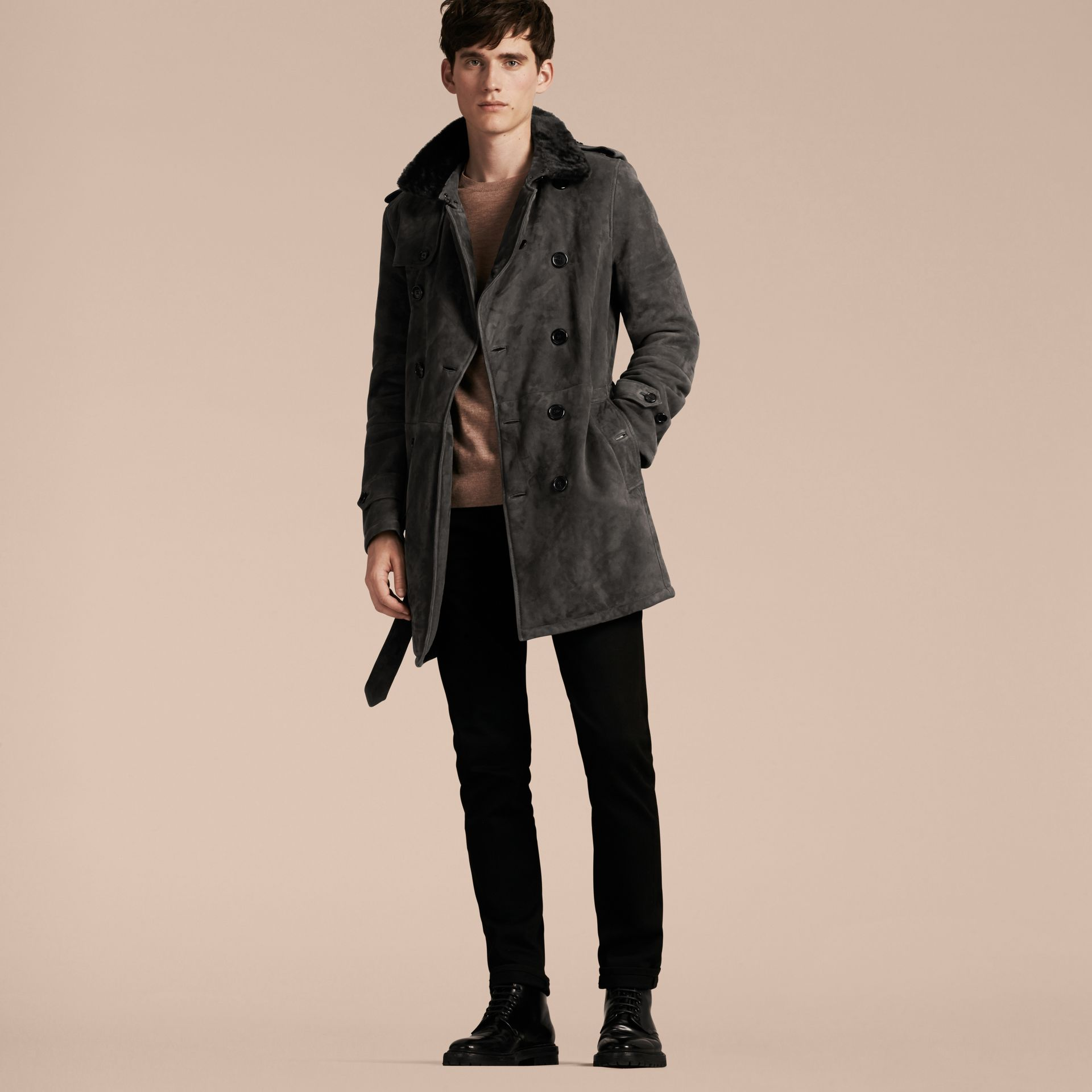 Charcoal Shearling Trench Coat - gallery image 7