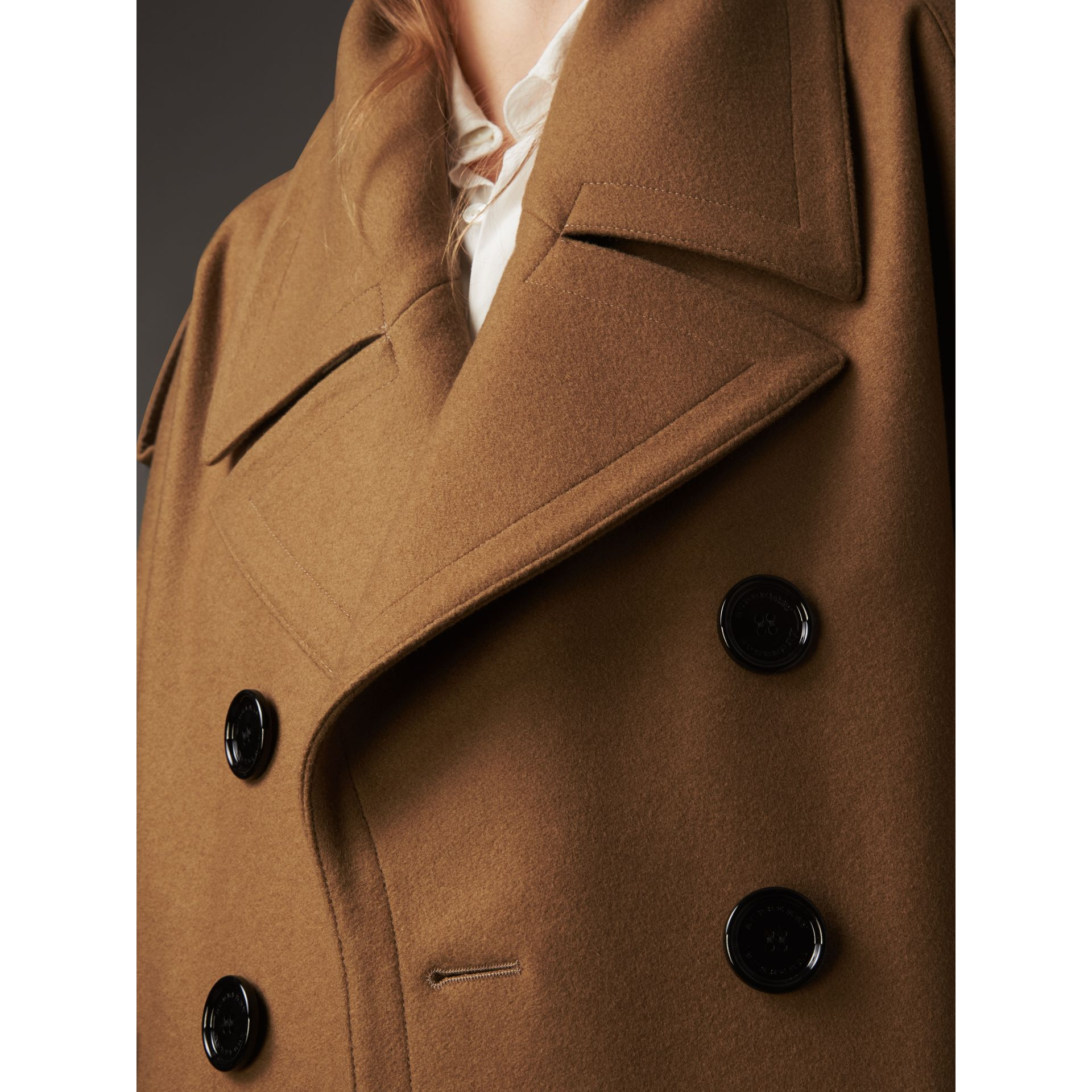 Wool Double-breasted Military Cape in Camel - Women | Burberry Hong Kong - gallery image 5
