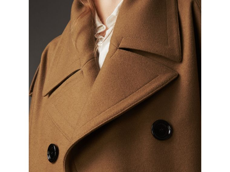 Wool Double-breasted Military Cape in Camel - Women | Burberry Hong Kong - cell image 4