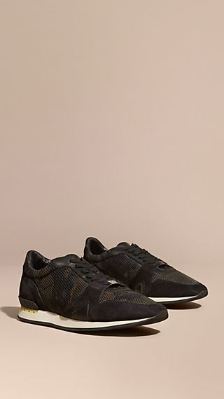 Tennis Field Sneaker en cuir velours et en filet camouflage