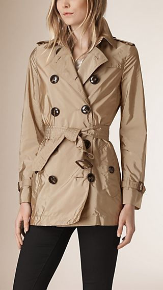 Leather Trim Technical Trench Coat