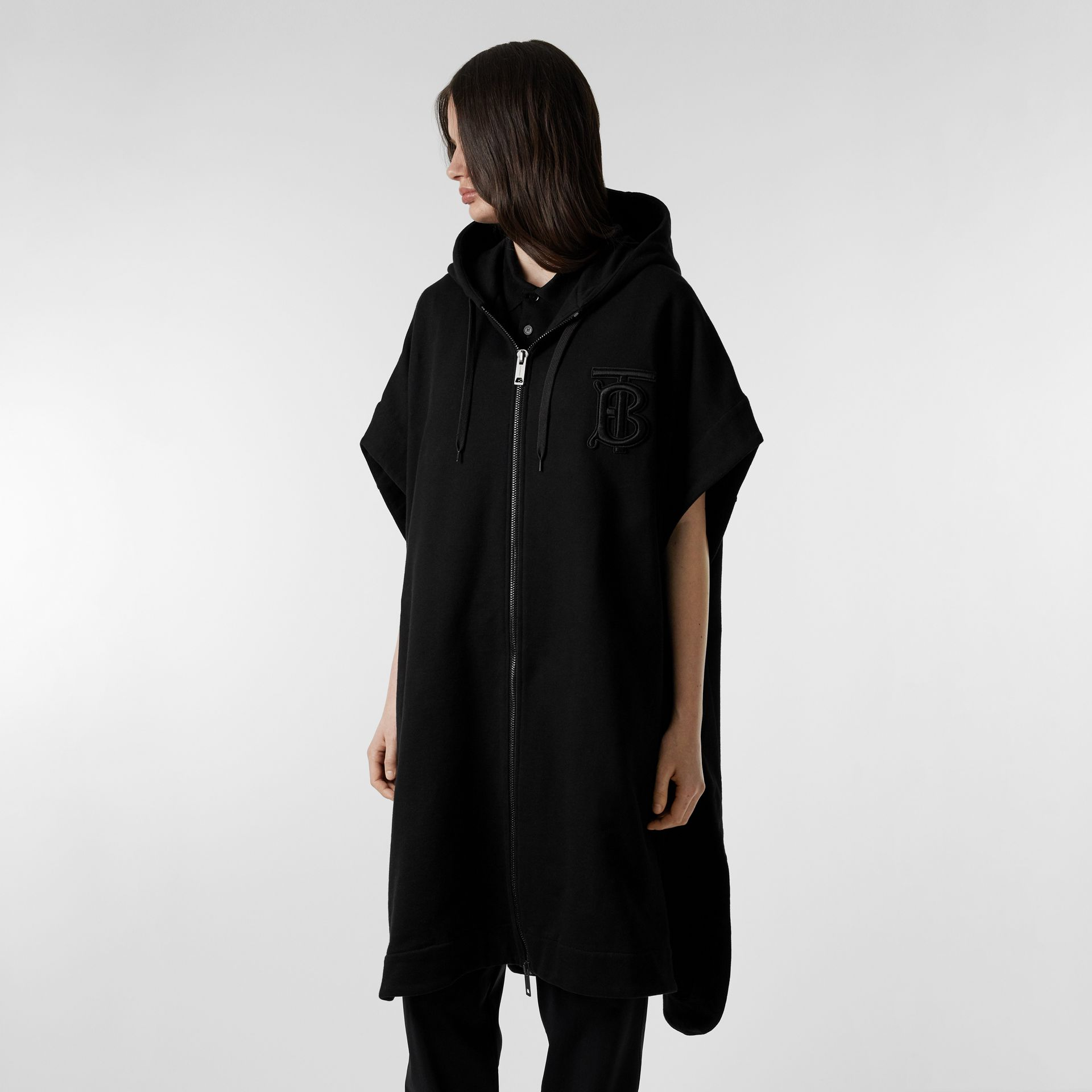 Monogram Motif Cotton Oversized Hooded Poncho in Black | Burberry - gallery image 5