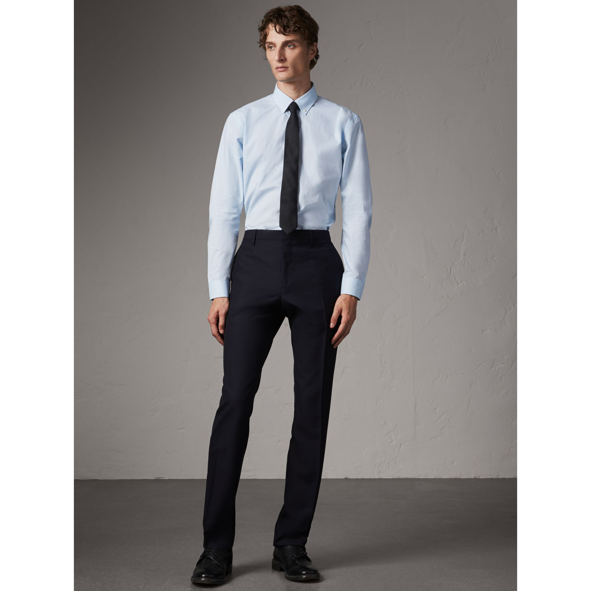 Modern Fit Wool Trousers in Navy - Men | Burberry Australia - gallery image 1