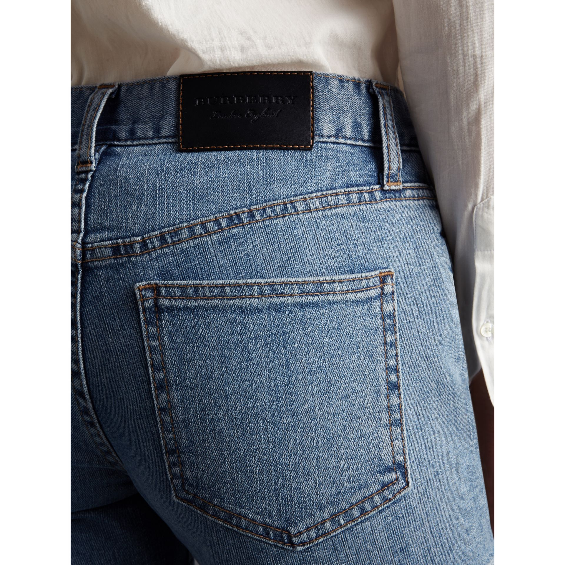 Slim Fit Seam Detail Japanese Denim Jeans - Women | Burberry - gallery image 2