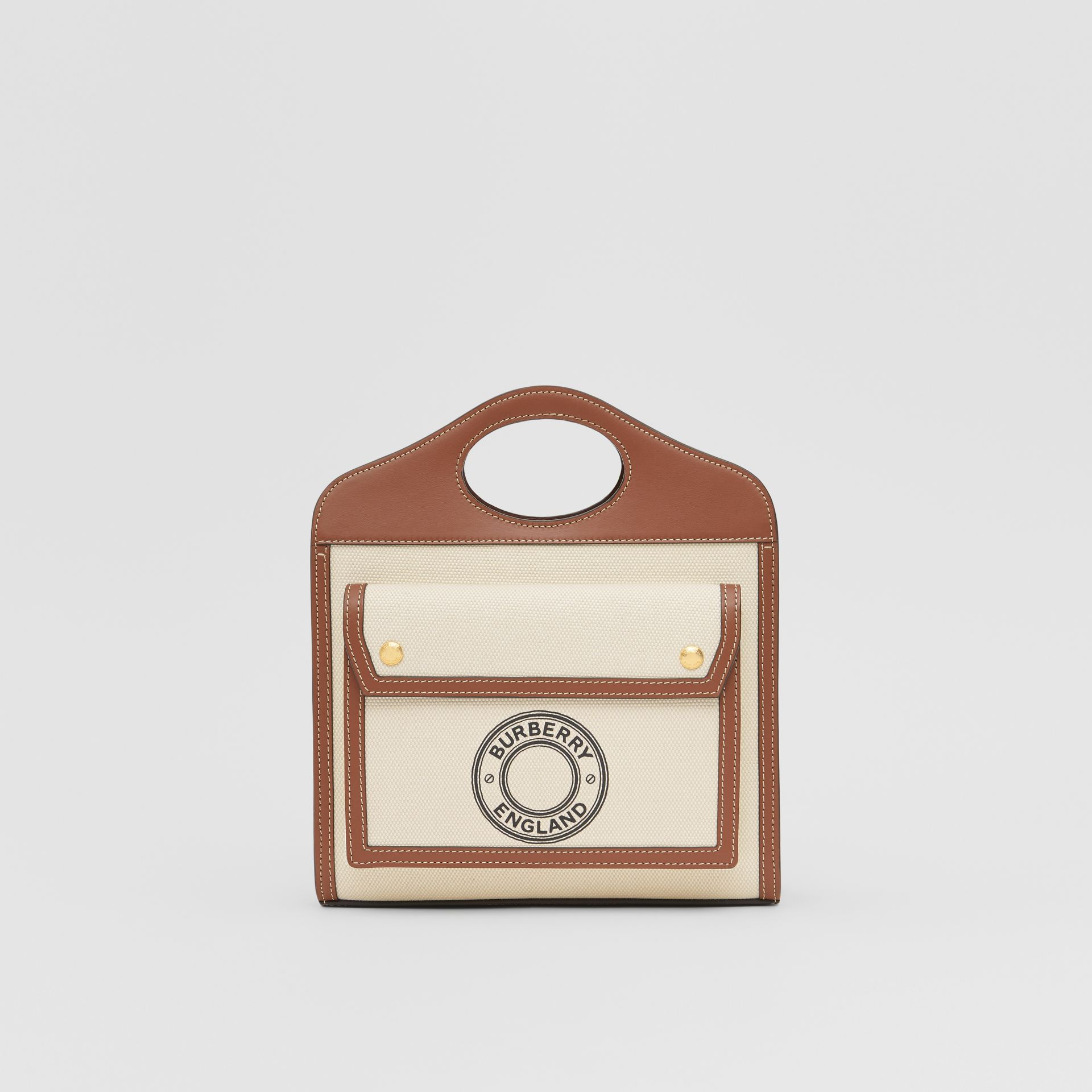 Mini Logo Graphic Canvas and Leather Pocket Bag in Tan - Women | Burberry Australia - gallery image 0