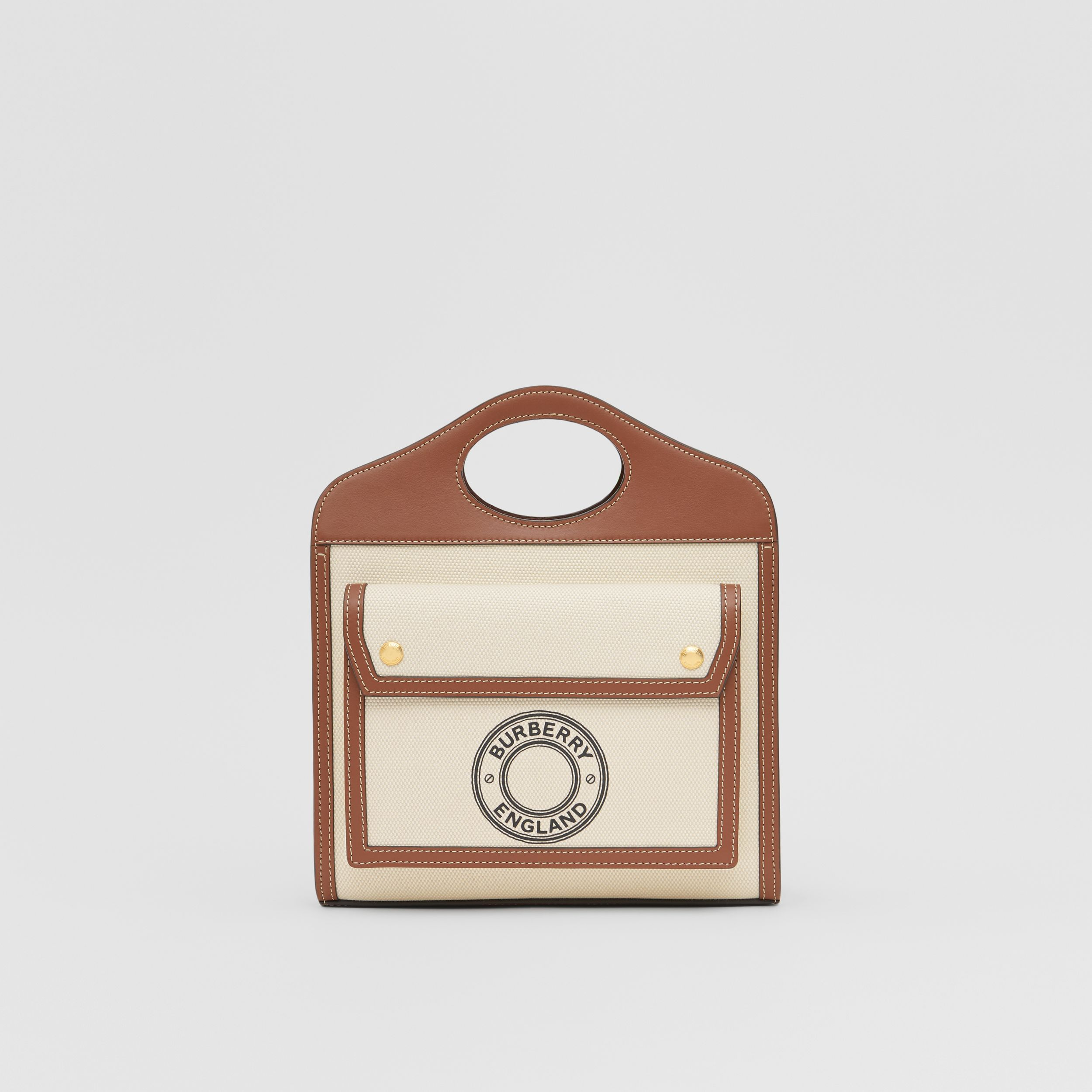 Mini Logo Graphic Canvas and Leather Pocket Bag in Natural/tan - Women | Burberry - 1