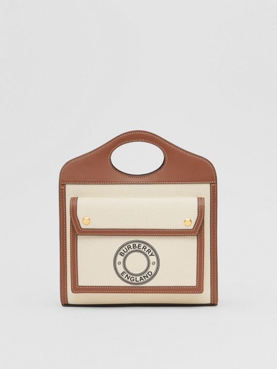 Borsa Pocket mini in tela e pelle con grafica e logo (Marroncino)