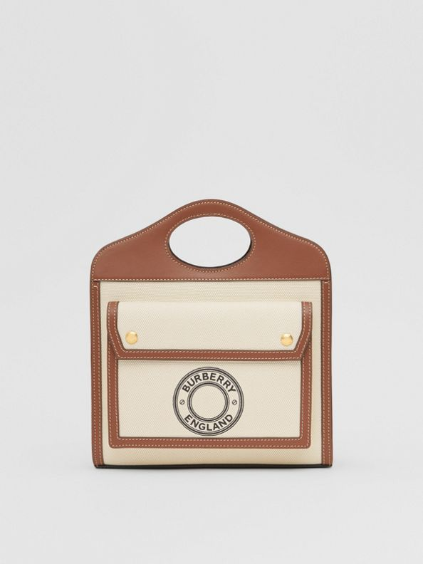 Mini Logo Graphic Canvas and Leather Pocket Bag in Tan