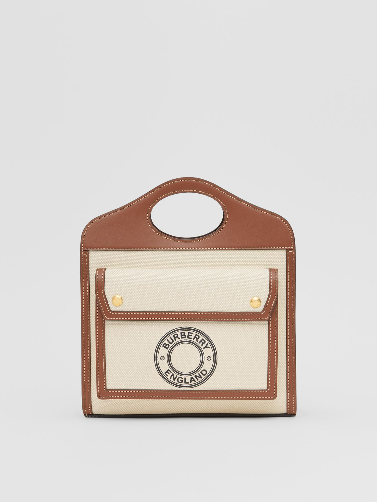 Mini Logo Graphic Canvas and Leather Pocket Bag (Tan)