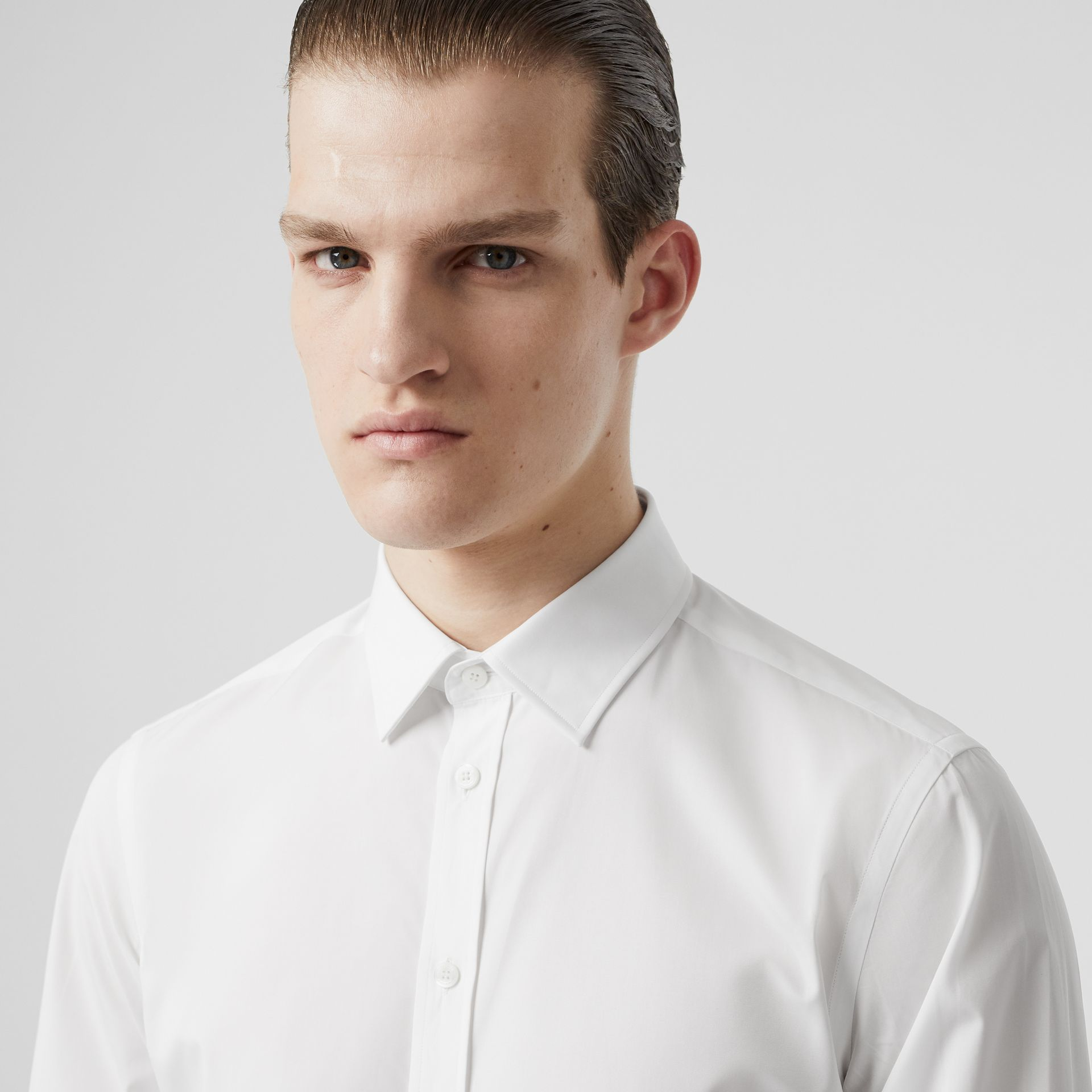 Slim Fit Monogram Motif Cotton Poplin Shirt in White - Men | Burberry Canada - gallery image 1