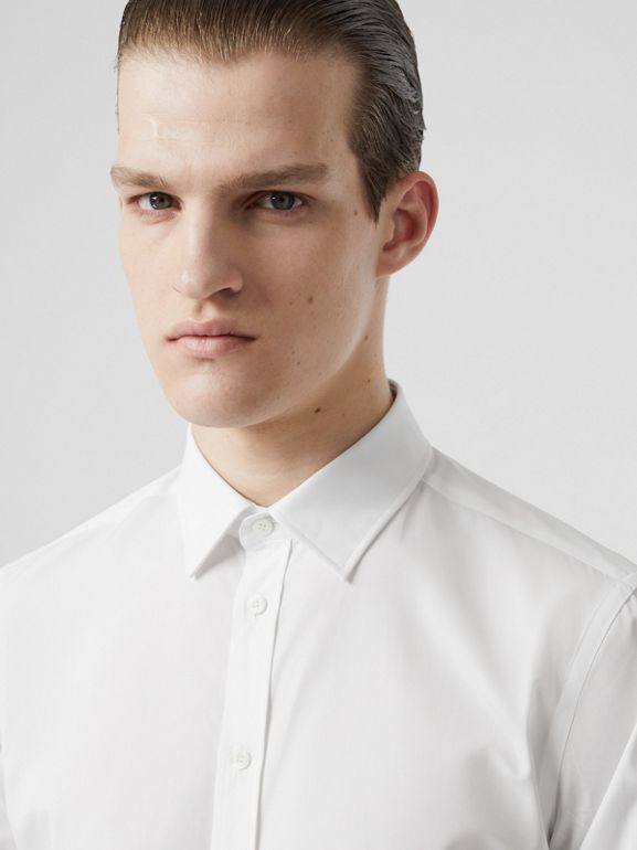 Slim Fit Monogram Motif Cotton Poplin Shirt in White - Men | Burberry Canada - cell image 1