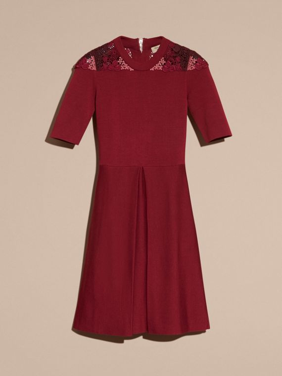 Carmine red Macramé Lace Detail Silk Blend Dress Carmine Red - cell image 3