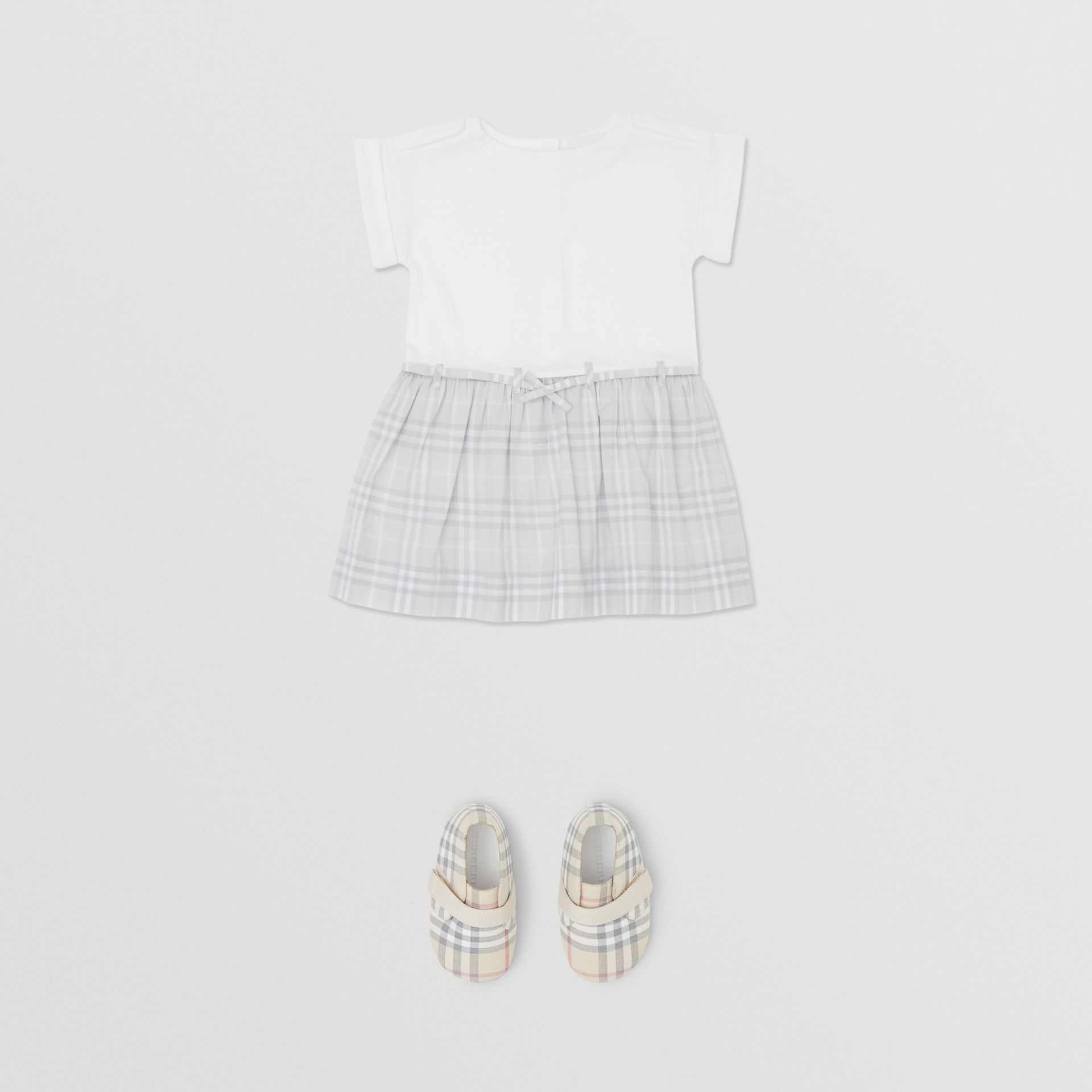 Check Detail Cotton Dress in White - Children | Burberry - gallery image 2