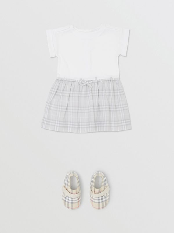 Check Detail Cotton Dress in White - Children | Burberry Hong Kong S.A.R - cell image 2