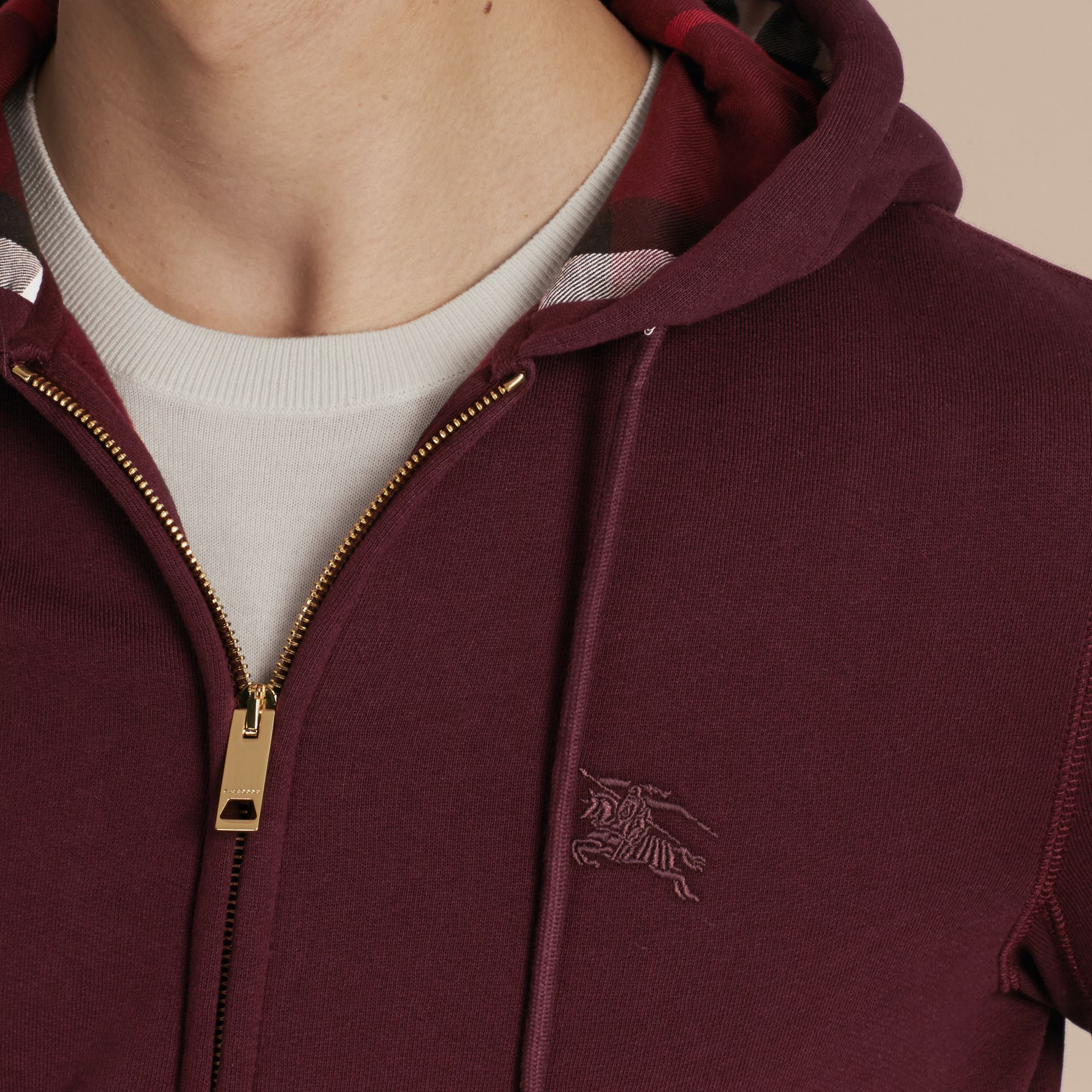 Deep claret Hooded Cotton Jersey Top - gallery image 5