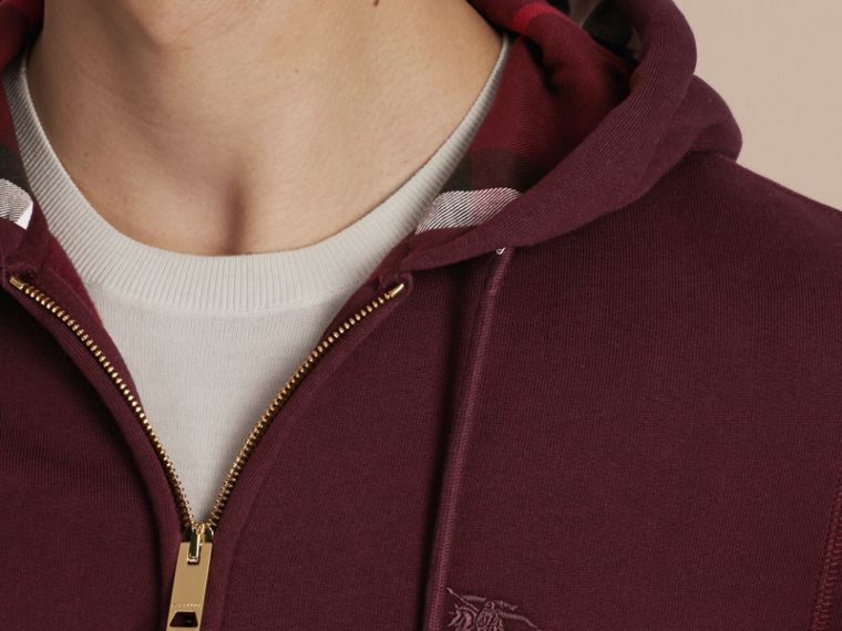 Deep claret Hooded Cotton Jersey Top - cell image 4