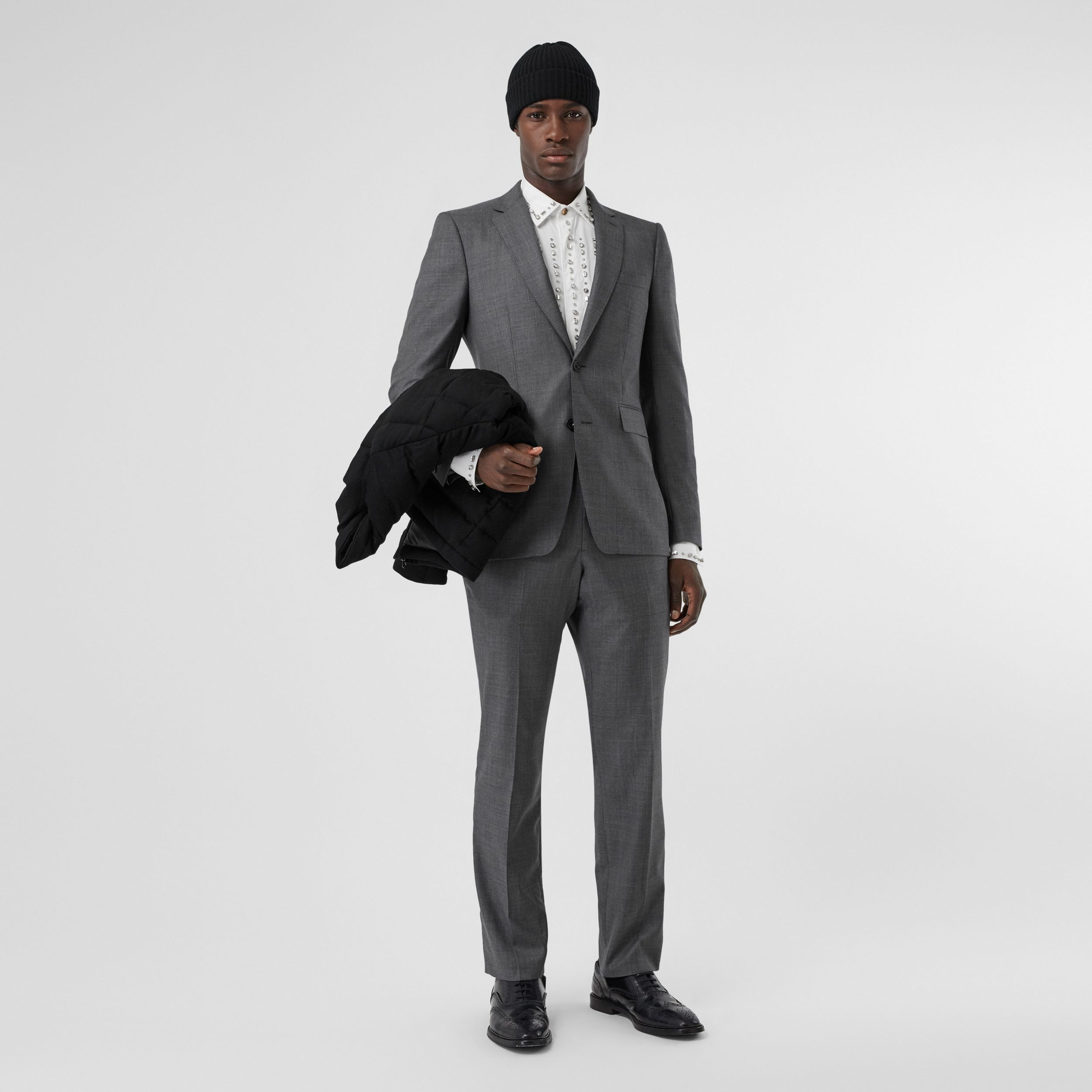 Classic Fit Sharkskin Wool Suit in Mid Grey Melange - Men | Burberry - 1