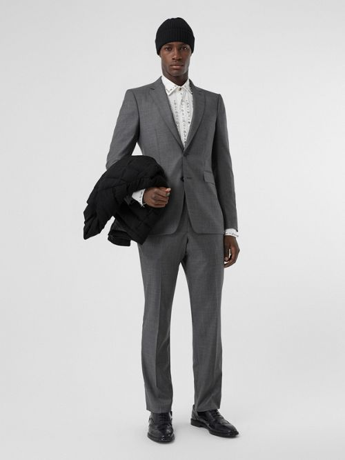 Burberry Suits Classic Fit Sharkskin Wool Suit