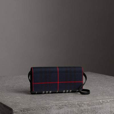 Tartan Cotton and Leather Wallet with Chain