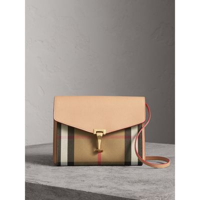 3725f079e987 small leather and house check crossbody bag in pale apricot women. BURBERRY