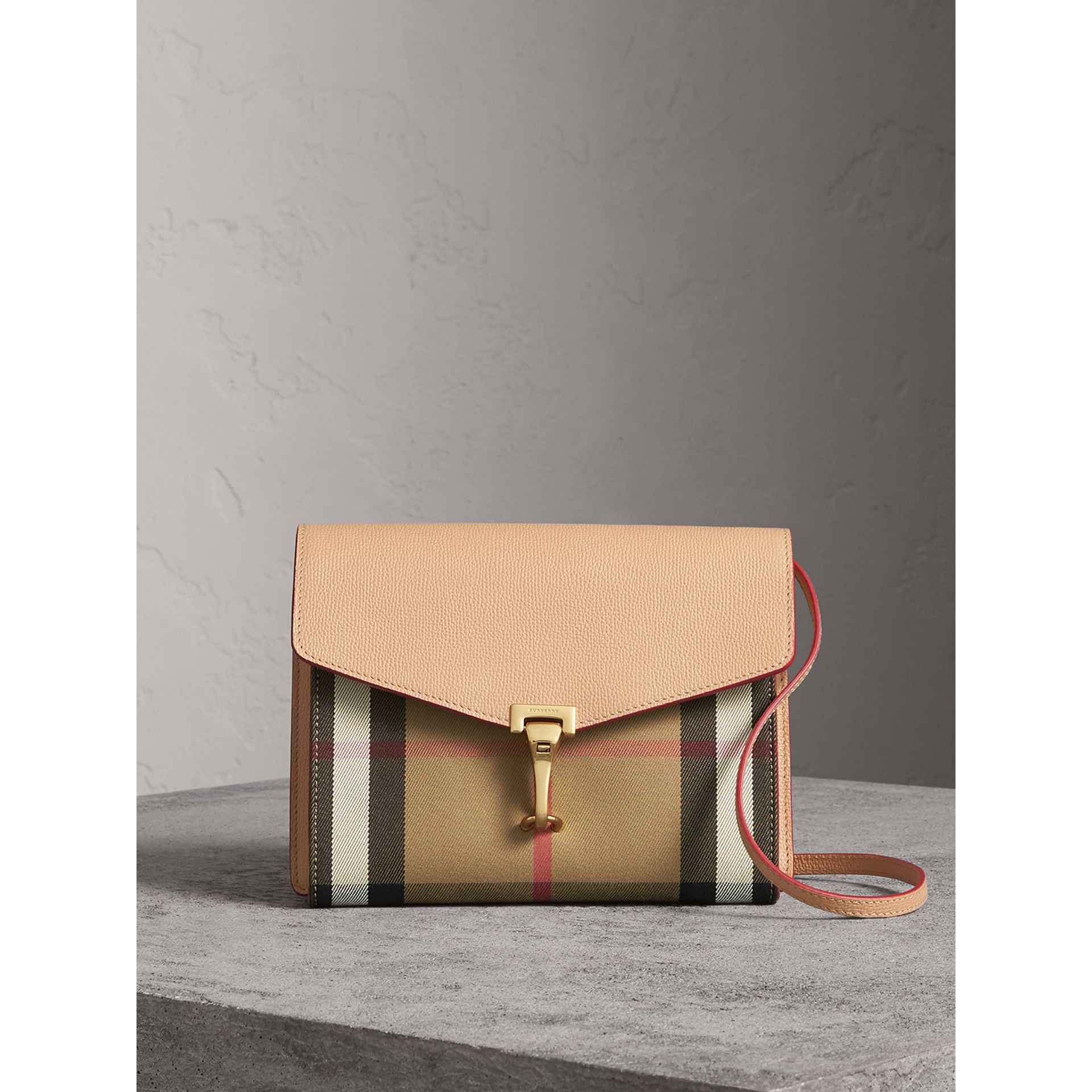 Small Leather and House Check Crossbody Bag in Pale Apricot - Women | Burberry - gallery image 0