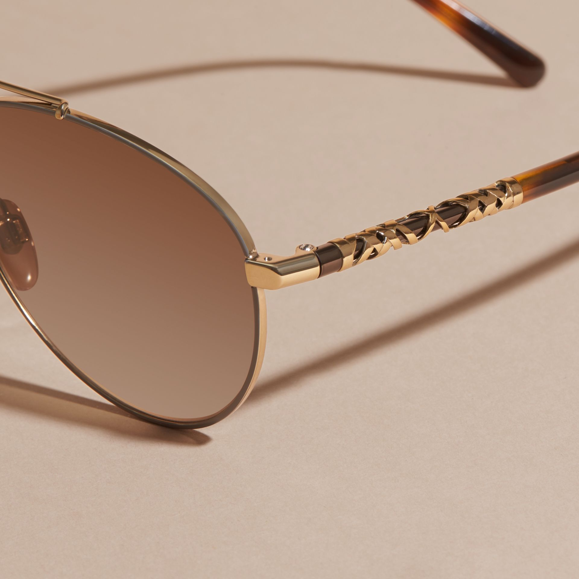 Check Detail Pilot Sunglasses in Pale Gold - Women | Burberry United States - gallery image 2
